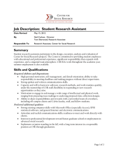 Job Description:  Student Research Assistant C S