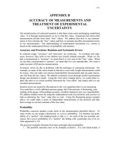 APPENDIX D ACCURACY OF MEASUREMENTS AND TREATMENT OF EXPERIMENTAL UNCERTAINTY