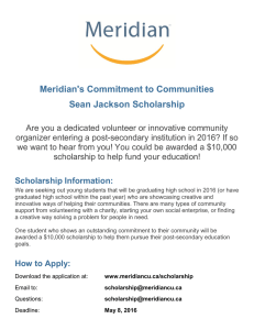 Meridian's Commitment to Communities Sean Jackson Scholarship