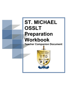 ST. MICHAEL OSSLT Preparation Workbook