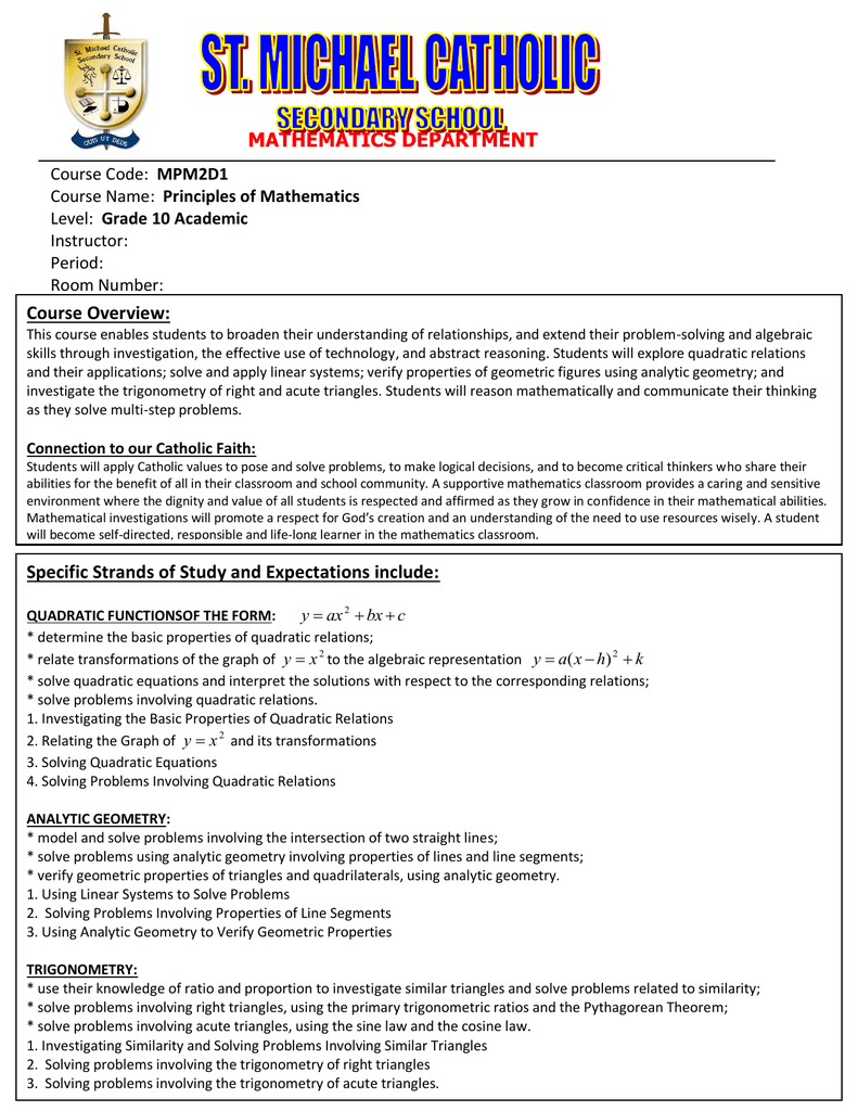 Course Overview: MATHEMATICS DEPARTMENT MPM2D1