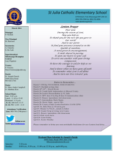 St Julia Catholic Elementary School Lenten Prayer
