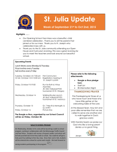 St. Julia Update Week of September 21 to Oct 2nd, 2015