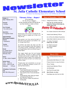 St. Julia Catholic Elementary School Respect Dates to Remember: February February Virtue –