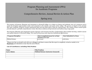 Program Planning and Assessment (PPA) for Academic Programs