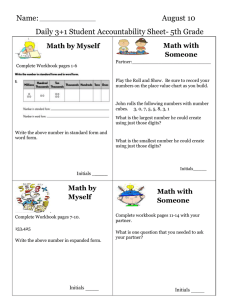 Name: August 10 Daily 3+1 Student Accountability Sheet- 5th Grade
