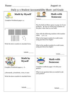 Name: August 10 Daily 3+1 Student Accountability Sheet- 3rd Grade