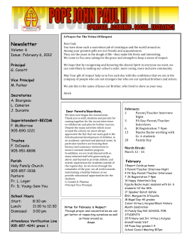 Newsletter Volume: 6 Issue:  February 6, 2012