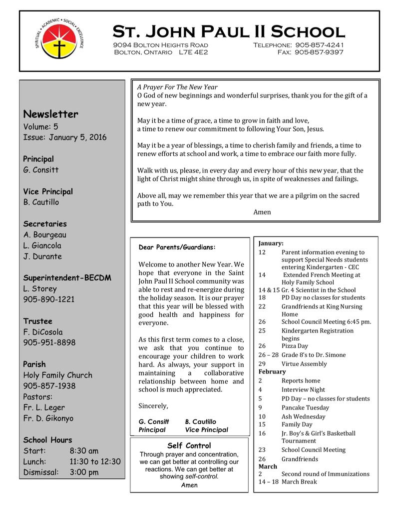 Newsletter Volume: 5 Issue: January 5, 2016