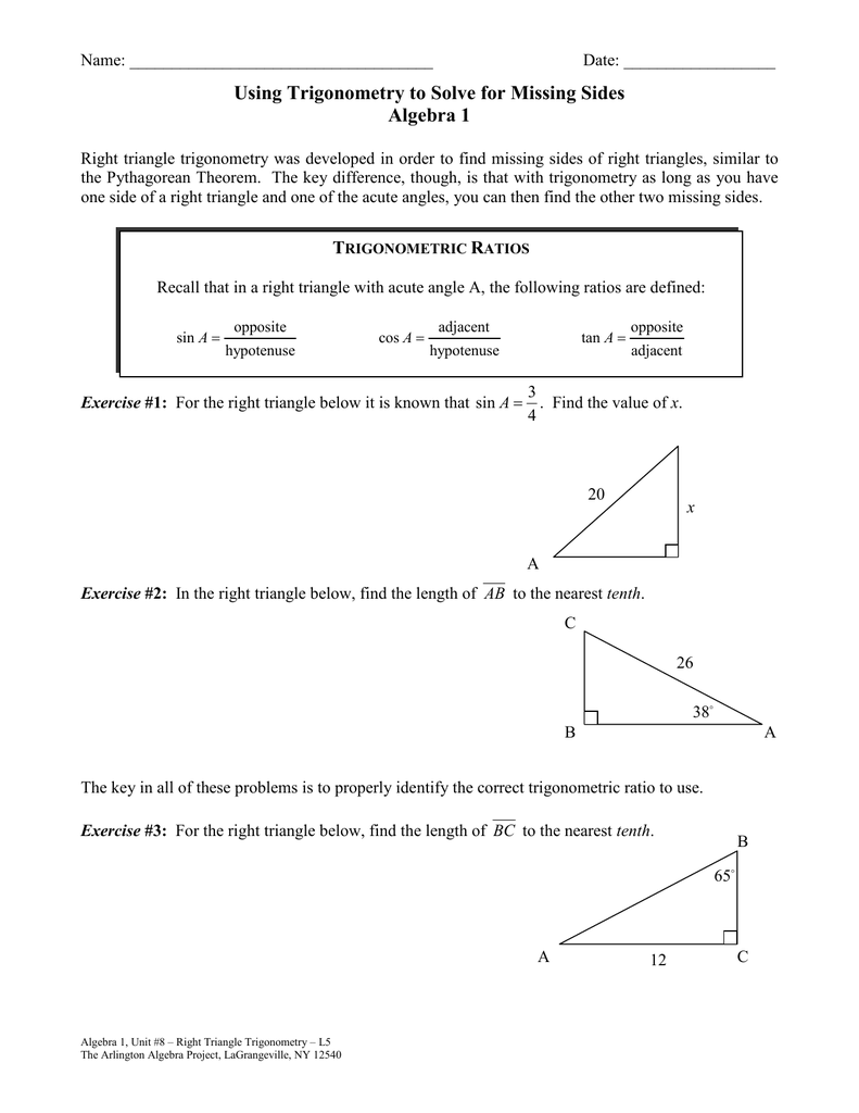 Using Trigonometry To Solve For Missing Sides Algebra 1