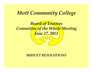 Mott Community College Board of Trustees Committee of the Whole Meeting