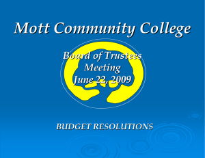 Mott Community College Board of Trustees Meeting June 22, 2009
