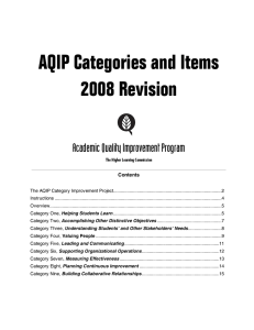AQIP Categories and Items 2008 Revision Academic Quality Improvement Program