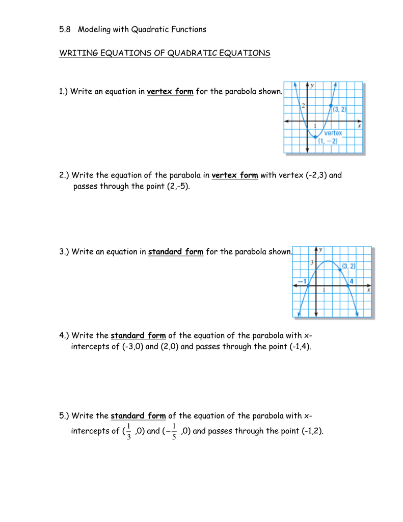 58 Modeling With Quadratic Functions Vertex Form