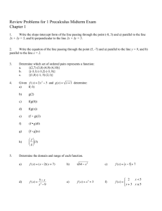 Review Problems for 1 Precalculus Midterm Exam Chapter 1