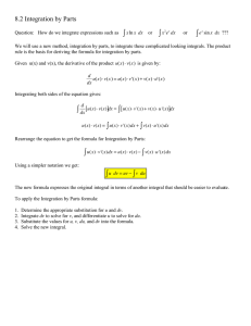 ! 8.2 Integration by Parts