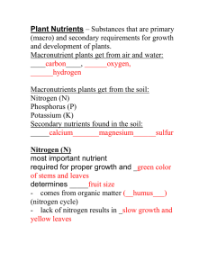 Plant Nutrients (macro) and secondary requirements for growth and development of plants.