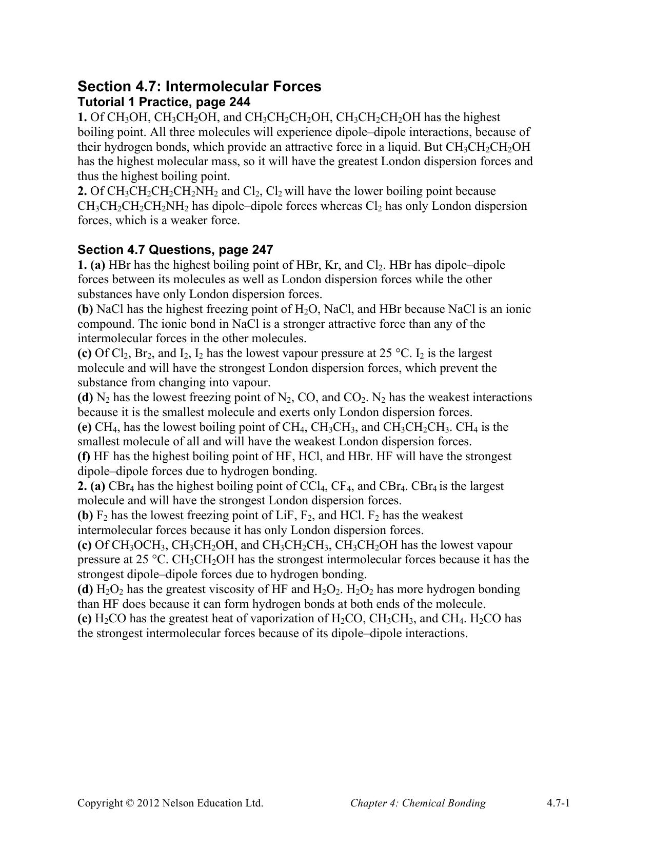 Section 4 7: Intermolecular Forces