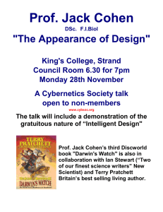 "Prof. Jack Cohen  ""The Appearance of Design"""