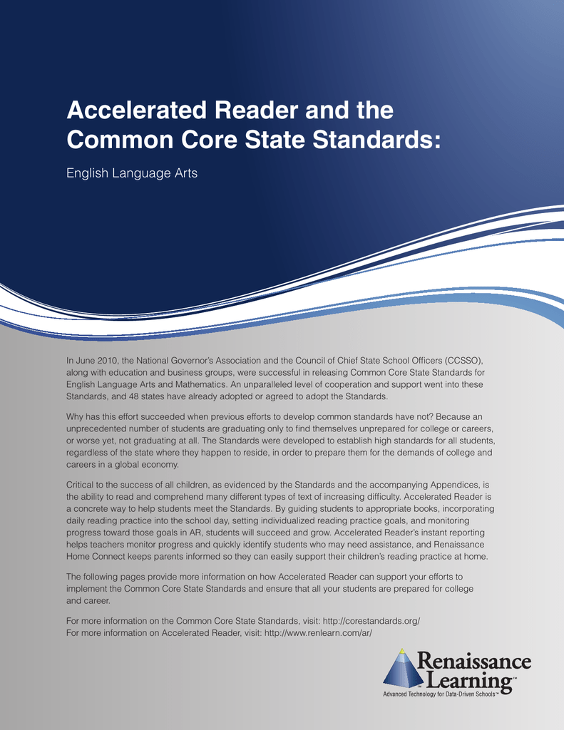 Accelerated Reader And The Common Core State Standards English