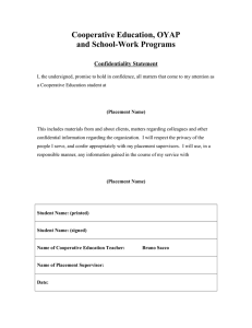 Cooperative Education, OYAP and School-Work Programs Confidentiality Statement