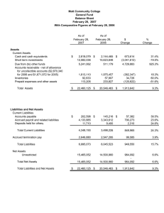 Mott Community College General Fund Balance Sheet February 28,  2007