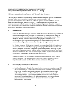 DEVELOPMENTAL EDUCATION/MANDATORY PLACEMENT PROJECT CHARTER [EC SUBMISSION DRAFT 10-1-2010]
