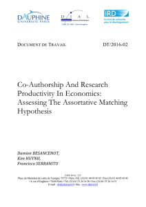 Co-Authorship And Research Productivity In Economics: Assessing The Assortative Matching Hypothesis
