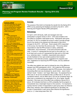 Research Brief – Spring 2014 (V2) Planning and Program Review Feedback Results