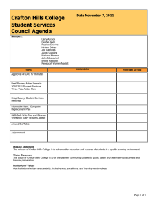 Crafton Hills College Student Services Council Agenda Date November 7, 2011