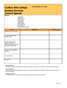 Crafton Hills College Student Services Council Agenda Date October 17, 2011