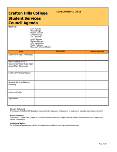 Crafton Hills College Student Services Council Agenda Date October 3, 2011