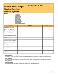 Crafton Hills College Student Services Council Agenda Date September 19, 2011
