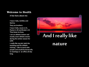 Welcome to Health A few facts about me: