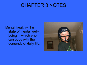 CHAPTER 3 NOTES – the Mental health state of mental well-