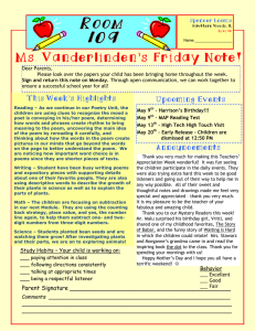 R Ms. Vanderlinden's Friday Note! O Upcoming Events