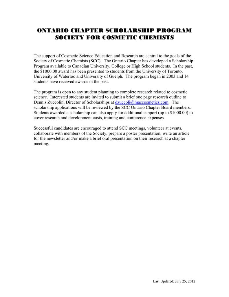 ontario chapter scholarship program society for cosmetic