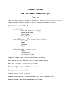 Consumer Education Unit 1 – Economics & Consumer Rights Check Up