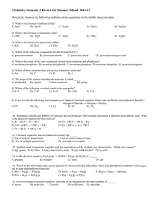 Chemistry Semester 2 Review for Summer School  2014-15