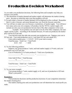Production Decision Worksheet