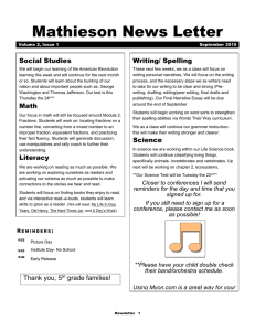 Mathieson News Letter Social Studies Writing/ Spelling