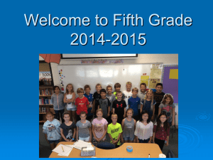 Welcome to Fifth Grade 2014-2015