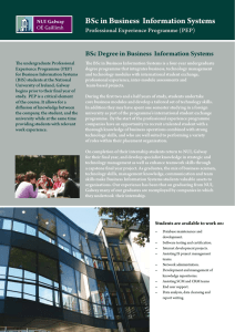 BSc in Business  Information Systems Professional Experience Programme (PEP)