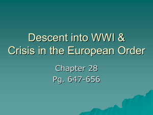 Descent into WWI & Crisis in the European Order Chapter 28 Pg. 647-656