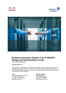 Building Automation System over IP (BAS/IP)  Cisco Validated Design