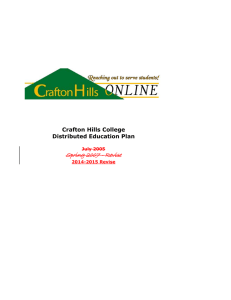 Spring 2007 - Revise Crafton Hills College Distributed Education Plan