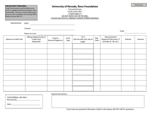 University of Nevada, Reno Foundation Print Form Transmittal Form Credit Cards ONLY