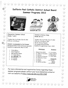 bufferin-Peel Catholic bistrict School Board Summer Programs 2012 A Elementary Summer School