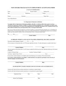 NON TENURE TRACK FACULTY EMPLOYMENT ACCEPTANCE FORM