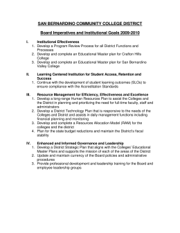 SAN BERNARDINO COMMUNITY COLLEGE DISTRICT Board Imperatives and Institutional Goals 2009-2010